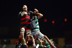 Dragons' Rynard Landman claims the lineout<br /> <br /> Photographer Craig Thomas/Replay Images<br /> <br /> EPCR Champions Cup Round 4 - Newport Gwent Dragons v Newcastle Falcons - Friday 15th December 2017 - Rodney Parade - Newport<br /> <br /> World Copyright © 2017 Replay Images. All rights reserved. info@replayimages.co.uk - www.replayimages.co.uk