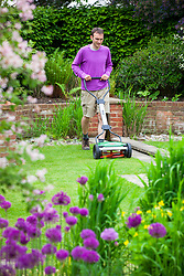 Mowing a lawn with a hand powered cyclinder lawnmower