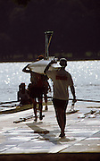 .Barcelona Olympic Games 1992.Olympic Regatta - Lake Banyoles.Atletes around the boating area..USA W2- on boating pontoon.       {Mandatory Credit: © Peter Spurrier/Intersport Images]..........       {Mandatory Credit: © Peter Spurrier/Intersport Images].........
