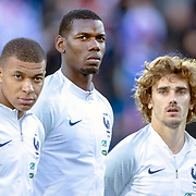 ANDORRA LA VELLA, ANDORRA. June 1.  Kylian Mbappe #10 of France, Paul Pogba #6 of France and Antoine Griezmann #7 of France during the team presentations before the Andorra V France 2020 European Championship Qualifying, Group H match at the Estadi Nacional d'Andorra on June 11th 2019 in Andorra (Photo by Tim Clayton/Corbis via Getty Images)