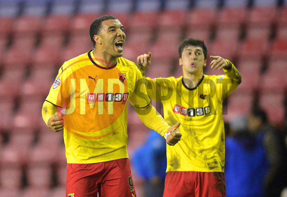 Watford's Troy Deeney celebrates at the end of the match - Photo mandatory by-line: Richard Martin-Roberts/JMP - Mobile: 07966 386802 - 17/03/2015 - SPORT - Football - Wigan - DW Stadium - Wigan Athletic  v Watford - Sky Bet Championship