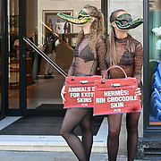 Protest PETA 'Crocodiles' Descend on Hermès Store