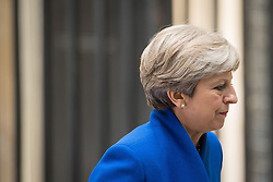 Prime Minister Theresa May after she made a statement in Downing Street after she traveled to Buckingham Palace for an audience with Queen Elizabeth II following the General Election results.