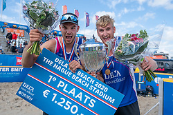 Jasper Bouter en Ruben Penninga win the gold medal match. The Final Day of the DELA NK Beach volleyball for men and women will be played in The Hague Beach Stadium on the beach of Scheveningen on 23 July 2020 in Zaandam.