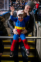 KELOWNA, CANADA - MARCH 16:  Superhero fan on March 16, 2019 at Prospera Place in Kelowna, British Columbia, Canada.  (Photo by Marissa Baecker/Shoot the Breeze)