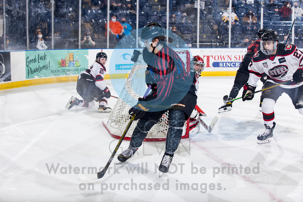 The Youngstown Phantoms lose 5-4 in overtime to the Chicago Steel at the Covelli Centre on February 20, 2021.<br /> <br /> Brayden Stannard, forward, 27