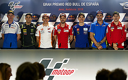 May 3, 2018 - Jerez De La Frontera, Cadiz, Spain - 53 Tito Rabat (Spanish) Reale Avintia Racing Ducati, #5 Johann Zarco (French) Monster Yamaha Tech 3, #93 Marc Marquez (Spanish) Repsol Honda Team, #4 Andrea Dovizioso (Italian) Ducati Team, #25 Maverick Viales (Spanish) Movistar Yamaha MotoGP, #29 Andrea Iannone (Italian) Team Suzuki Ecstar, #99 Jorge Lorenzo (Spanish) Ducati Team in the press conference before of the Gran Premio Red Bull of Spain, Circuit of Jerez - Angel Nieto, Jerez de la Frontera, Spain. Thursday, 03rd May, 2018. (Credit Image: © Jose Breton/NurPhoto via ZUMA Press)