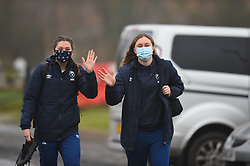 Lily Stoeger-Goddard and Hollie Cunningham of Bristol Bears Women arrive at Shaftesbury Park - Mandatory by-line: Paul Knight/JMP - 28/11/2020 - RUGBY - Shaftesbury Park - Bristol, England - Bristol Bears Women v Saracens Women - Allianz Premier 15s
