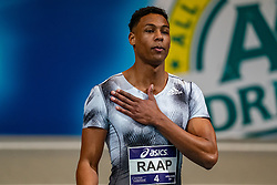 Rafael Raap in action on the 60 meters during the Dutch Athletics Championships on 13 February 2021 in Apeldoorn