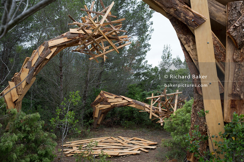 The artwork entitled 'Garden' by the artist Elparo on the sculpture park trail, on 22nd May, 2017, in Mayronnes sculpture park, Languedoc-Rousillon, south of France