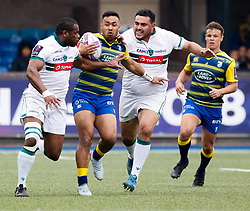 Cardiff Blues' Willis Halaholo under pressure from Pau's Watisoni Votu<br /> <br /> Photographer Simon King/Replay Images<br /> <br /> European Rugby Challenge Cup - Semi Final - Cardiff Blues v Pau - Saturday 21st April 2018 - Cardiff Arms Park - Cardiff<br /> <br /> World Copyright © Replay Images . All rights reserved. info@replayimages.co.uk - http://replayimages.co.uk