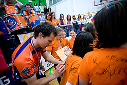 Rok Satler with fans at last final volleyball match of 1.DOL Radenska Classic between OK ACH Volley and Salonit Anhovo, on April 21, 2009, in Arena SGS Radovljica, Slovenia. ACH Volley won the match 3:0 and became Slovenian Champion. (Photo by Vid Ponikvar / Sportida)