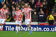 Marko Arnautovic of Stoke City (c) celebrates after scoring his teams 1st goal. Barclays Premier league match, Stoke city v Manchester city at the Britannia Stadium in Stoke on Trent, Staffs on Saturday 5th December 2015.<br /> pic by Chris Stading, Andrew Orchard sports photography.