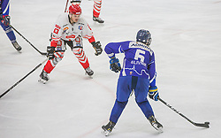9# Rajsar Patrik of HDD SIJ Acroni Jesenice and 6# Slivnik Luc of HKMK Bled during the final match of Slovenia Cup 2020/21 between HDD SIJ Acroni Jesenice and HKMK Bled, on 19.09.2020 in Ljubljana, Slovenia. Photo by Urban Meglič / Sportida