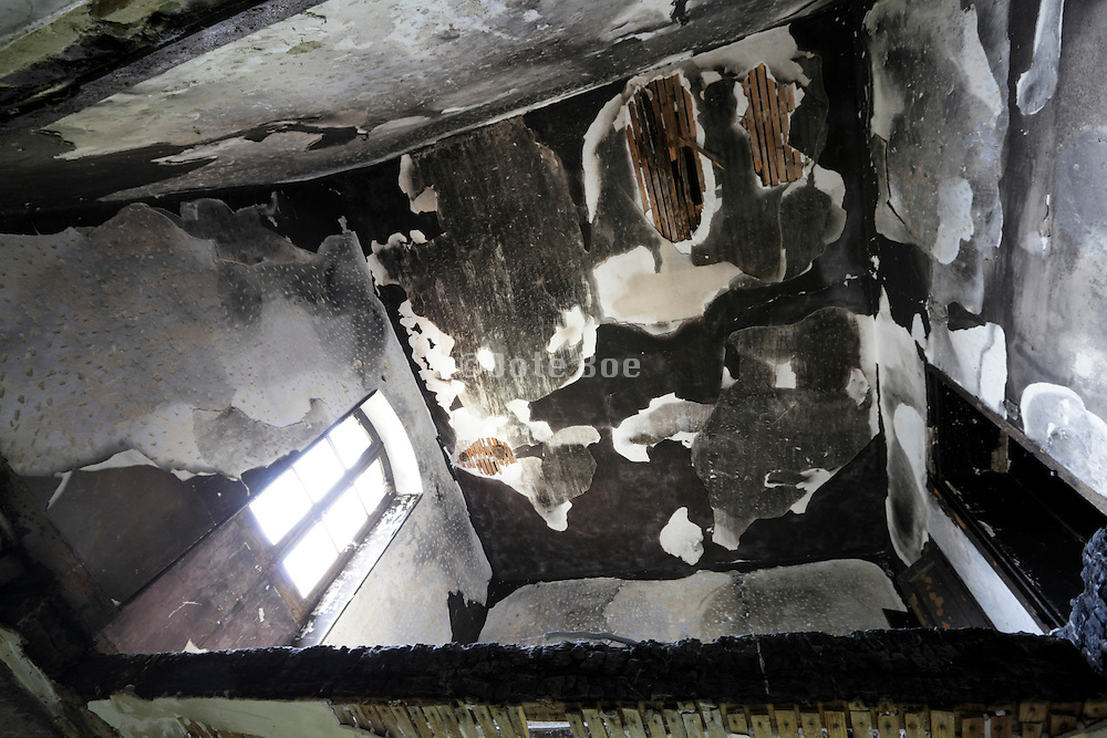 burned out room in a house