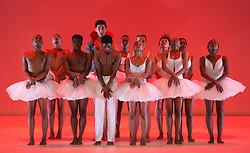 © Licensed to London News Pictures. 17/06/2014. London, England. At the centre: Songezo Mcilizeli as Siegfried and Dada Masilo as Odette. Dress rehearsal of Dada Masilo - Swan Lake which is part of Sadler's Sampled, a two week taster festival of dance at low prices (standing tickets from GBP 8). Photo credit: Bettina Strenske/LNP