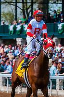 Jockey Javier Castellano riding U.S.S. Boxer at Keeneland Racecourse, Lexington, Kentucky USA.. He is a jockey in American Thoroughbred horse racing from Venezuela.