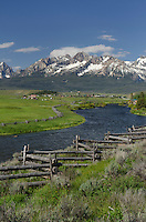 Sawtooth Mountains and Salmon River idaho from Stanley Basin