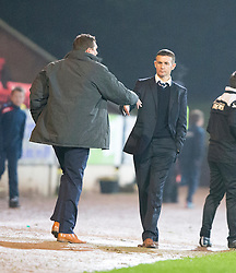 St Johnstone manager Tommy Wright and Ross County's manager Jim McIntrye at the end.<br /> St Johnstone 2 v 1 Ross County, Scottish Premiership 22/11/2014 at St Johnstone's home ground, McDiarmid Park.