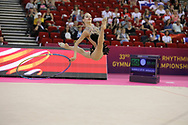 Jelizaveta Gamalejeva, Latvia, during day one of the 33rd European Rhythmic Gymnastics at Papp Laszlo Budapest Sports Arena, Budapest, Hungary on 19 May 2017. Photo by Myriam Cawston.
