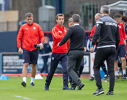 Dundee's manager Neil McCann and Motherwell's manager Stephen Robinson at the end. Dundee 1 v 3 Motherwell, SPFL Ladbrokes Premiership game played 1/9/2018 at Dundee's Kilmac stadium Dens Park