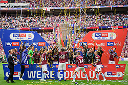 May 27, 2019 - London, England, United Kingdom - Villa players celebrate during the Sky Bet Championship match between Aston Villa and Derby County at Wembley Stadium, London on Monday 27th May 2019. (Credit: Jon Hobley | MI News) (Credit Image: © Mi News/NurPhoto via ZUMA Press)