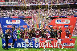May 27, 2019 - London, England, United Kingdom - Villa players celebrate during the Sky Bet Championship match between Aston Villa and Derby County at Wembley Stadium, London on Monday 27th May 2019. (Credit: Jon Hobley | MI News) (Credit Image: © Mi News/NurPhoto via ZUMA Press)