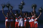 Barcelona Olympics 1992 - Lake Banyoles, SPAIN, Gold Medallist CAN W8+, BARNES Jennifer Kirsten, CRAWFORD Shannon, DELEHANTY Megan Catherine, HEDDLE Kathleen, MCBEAN Marnie Elizabeth, MONROE  Jessica, TAYLOR  Brenda Susan,THOMPSON Lesley Allison, WORTHINGTON, Kay Frances. [on crutches]  Photo: Peter Spurrier.       {Mandatory Credit: © Peter Spurrier/Intersport Images]