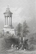 Engravings o Cenotaph of Robert Burns at Alloway, Scotland artist W H Barlett