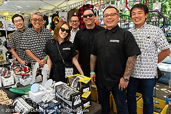 Mooneyes' Shige Suganuma with a fully staffed vendor tent including his daughter Emi Suganuma at the Born-Free Vintage Motorcycle show at Oak Canyon Ranch, Silverado, CA, USA. Sunday, June 23, 2019. Photography ©2019 Michael Lichter.