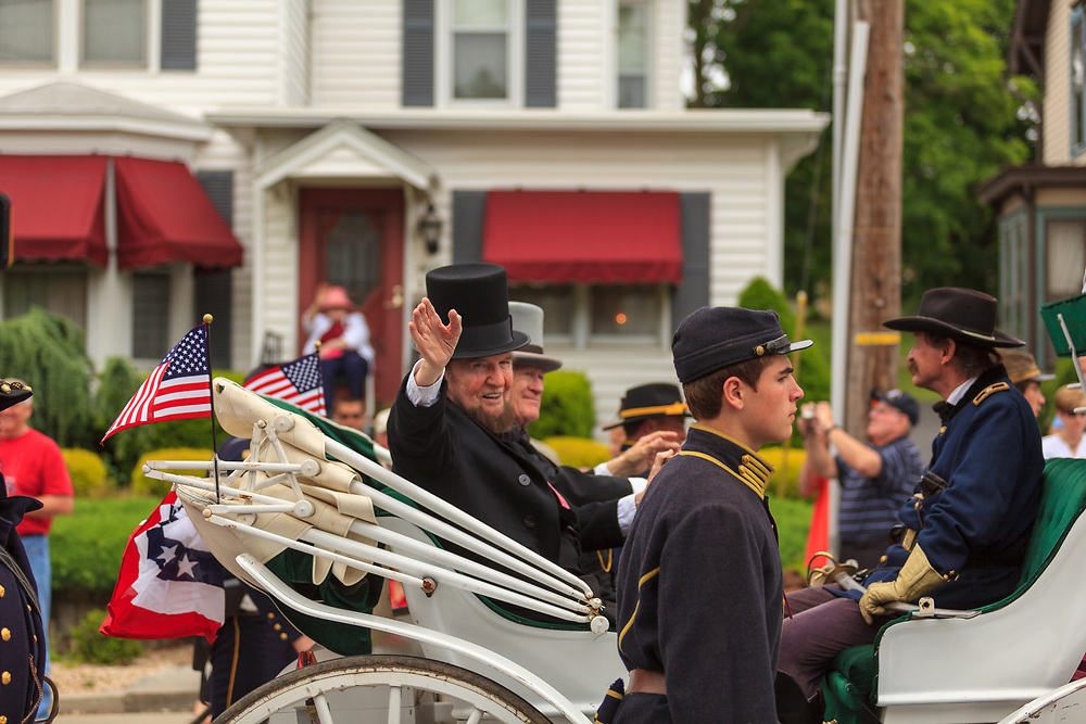 Gettysburg, PA, USA / May 27, 2013: A Reenactor of President Abe Lincoln makes an appearance in a Memorial Day parade and celebration in Gettysburg.