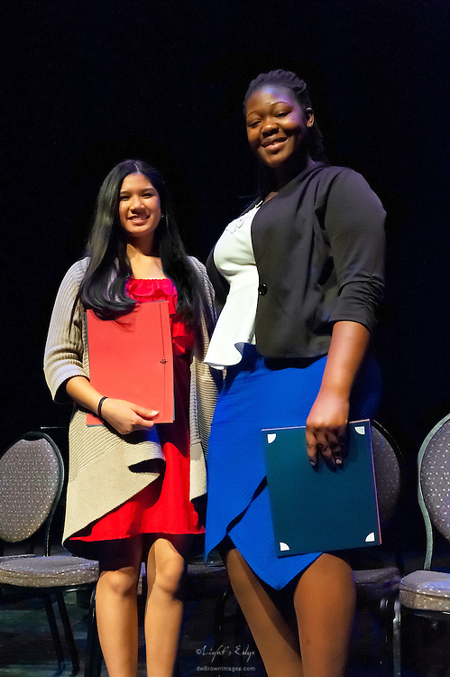 Amber McCleese and Georglana Balisage, he two finalists in The  Poetry Out Loud, Regional 5,  competition at SOPAC.