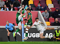 Rugby Union - 2020 / 2021 Gallagher Premiership - Round 19 - London Irish vs Exeter Chiefs - Brentford Community Stadium<br /> <br /> London Irish's Tom Parton fails to collect a high ball as they attack.<br /> <br /> COLORSPORT