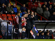 Chris Wilder manager of Sheffield Utd brings on Leon Clarke and Samir Carruthers of Sheffield Utd  during the English League One match at Bramall Lane Stadium, Sheffield. Picture date: April 5th 2017. Pic credit should read: Simon Bellis/Sportimage