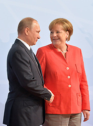 July 7, 2017 - Hamburg, Deutschland - Vladimir Putin, Angela Merkel.G20 SUMMIT: Official Welcome of the G20 leaders, Hamburg, Germany - 07 Jul 2017.Credit: MichaelTimm/face to face (Credit Image: © face to face via ZUMA Press)