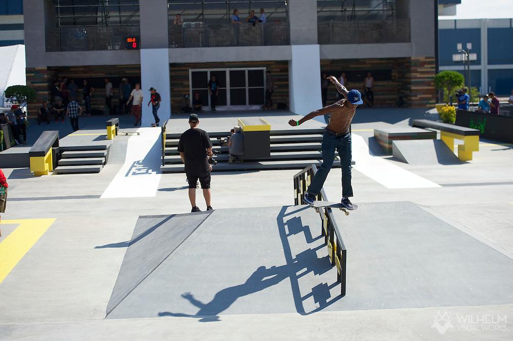 Ishod Wair during Street League Skate Practice at the 2013 X Games Los Angeles in Los Angeles, CA. ©Brett Wilhelm/ESPN