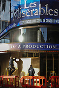 Les Miserables at the Sondheim Theatre being boarded up before tier three begins on 16th of December 2020 in London, United Kingdom. The popular show Les Miserables in London's West End has only just reopened after 4 weeks of national lockdown but all theatres and music venues in London must now close again due to tier 3 coronavirus measures in place starting midnight December 17th.
