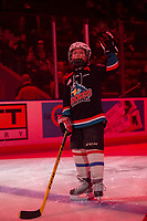 KELOWNA, BC - MARCH 7: The pepsi player of the game waves to the crowd at the Kelowna Rockets against the Lethbridge Hurricanes at Prospera Place on March 7, 2020 in Kelowna, Canada. (Photo by Marissa Baecker/Shoot the Breeze)