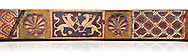 Gothic decorative painted beam panels with griffins and a carved syalise tree, Tempera on wood. National Museum of Catalan Art (MNAC), Barcelona, Spain .<br /> <br /> If you prefer you can also buy from our ALAMY PHOTO LIBRARY  Collection visit : https://www.alamy.com/portfolio/paul-williams-funkystock/gothic-art-antiquities.html  Type -     MANAC    - into the LOWER SEARCH WITHIN GALLERY box. Refine search by adding background colour, place, museum etc<br /> <br /> Visit our MEDIEVAL GOTHIC ART PHOTO COLLECTIONS for more   photos  to download or buy as prints https://funkystock.photoshelter.com/gallery-collection/Medieval-Gothic-Art-Antiquities-Historic-Sites-Pictures-Images-of/C0000gZ8POl_DCqE