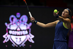 February 1, 2018 - Saint Petersburg, Russia - Kristina Mladenovic of France returns the ball to Dominika Cibulkova of Slovakia during the St. Petersburg Ladies Trophy ATP tennis tournament match in St. Petersburg  (Credit Image: © Igor Russak/NurPhoto via ZUMA Press)