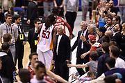DESCRIZIONE : Milano Lega A 2014-15 <br /> EA7 Olimpia Milano - Acea Virtus Roma <br /> GIOCATORE : Ndudi Ebi Giorgio Armani <br /> CATEGORIA : esultanza post game mani <br /> SQUADRA : EA7 Olimpia Milano<br /> EVENTO : Campionato Lega A 2014-2015 <br /> GARA : EA7 Olimpia Milano - Acea Virtus Roma<br /> DATA : 12/04/2015<br /> SPORT : Pallacanestro <br /> AUTORE : Agenzia Ciamillo-Castoria/GiulioCiamillo<br /> Galleria : Lega Basket A 2014-2015  <br /> Fotonotizia : Milano Lega A 2014-15 EA7 Olimpia Milano - Acea Virtus Roma