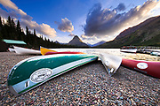 Canoes on the shore of Two Medicine Lake.