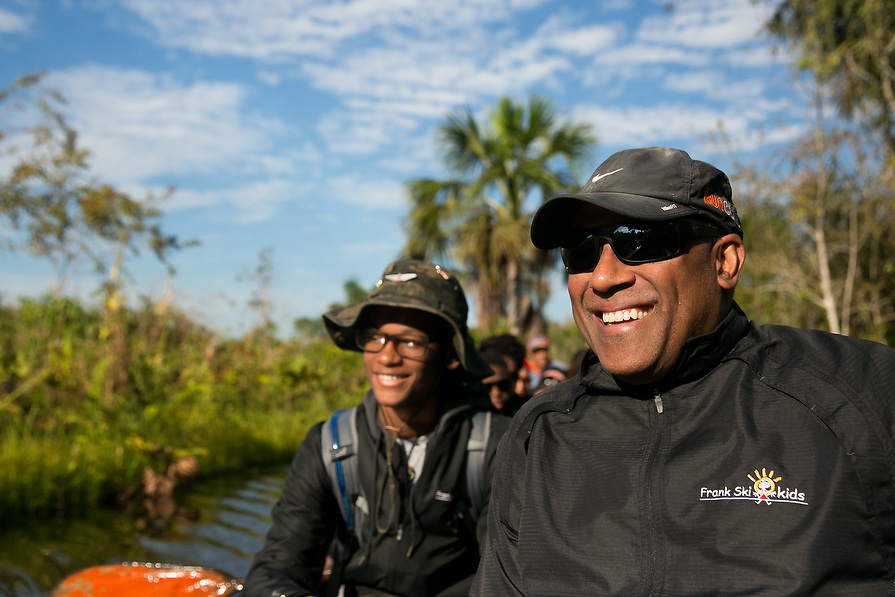Frank Ski of the Frank Ski Foundation joins teenagers as they tour the Amazon jungle of Peru.