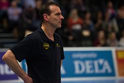 21-02-2015 NED: Sliedrecht Sport - Peelpush, Zwolle<br /> Sliedrecht Sport versloeg Peelpush in de halve finale met 3-1 en staat sinds 2012 weer in de finale / Coach Johan Leenders