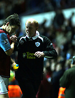 Photo: Mark Stephenson.<br /> Aston Villa v Leicester City. Carling Cup. 26/09/2007.Leice4ster's manager gary Kenton shakes hands after the game with a dejected Gareth Barry