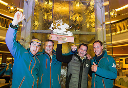07.12.2014, Saalbach Hinterglemm, AUT, Snow Mobile, im Bild Jubel bei Gidi Pirkner und seinem Pirkner Events Racing Racing Team // during the Snow Mobile Event at Saalbach Hinterglemm, Austria on 2014/12/07. EXPA Pictures © 2014, PhotoCredit: EXPA/ JFK