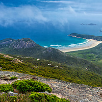 Panoramic views over Tidal River, the coast and offshore islands from the summit of Mount Oberon, Wilsons Promontory National Park, Victoria, Australia.