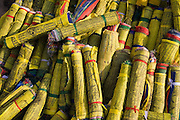 PIle of rolled up Tibetan Buddhist prayer flags for sale at Swayambhunath Temple, Kathmandu, Nepal.