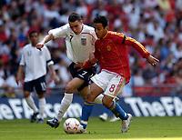 Photo: Olly Greenwood.<br />England U16 v Spain U16. International Friendly. 28/04/2007. England's Matthew James and Spain's Thiago Alcantara do Nascimento