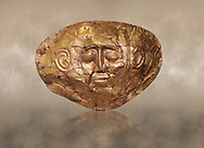 Mycenaean gold death mask, Grave Cicle A, Mycenae, Greece. National Archaeological Museum of Athens. <br /> <br /> This death mask is typical of the other Mycenaean gold death masks fround in Grave V. made from a sigle sheet of gold the shape of the face would have been hammered ot against wood. two holes either side of the gold mask allowed it to be held over the dead mans face. As weapons were found in the graves of Grave Circle A at Mycenae, those buried here wer warriors and maybe kings as the grave goods buried with them were of great value. 16th century BC .<br /> <br /> If you prefer to buy from our ALAMY PHOTO LIBRARY  Collection visit : https://www.alamy.com/portfolio/paul-williams-funkystock/mycenaean-art-artefacts.html . Type -   Athens    - into the LOWER SEARCH WITHIN GALLERY box. Refine search by adding background colour, place, museum etc<br /> <br /> Visit our MYCENAEN ART PHOTO COLLECTIONS for more photos to download  as wall art prints https://funkystock.photoshelter.com/gallery-collection/Pictures-Images-of-Ancient-Mycenaean-Art-Artefacts-Archaeology-Sites/C0000xRC5WLQcbhQ
